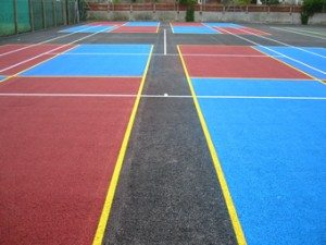 Yellow Blue and Red Sports Court