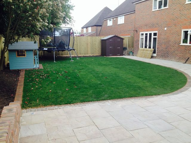 Landscaped Patio With Lawn