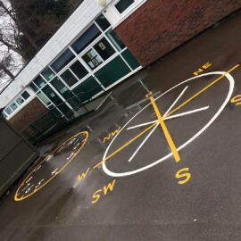 Line marking in Brockham, Surrey