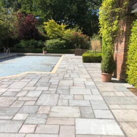 Patio Pool Area in Cobham, Surrey