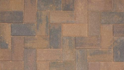 Driveline 50 block paving burnt ochre